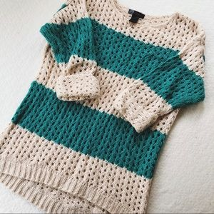 Soft Teal & Cream Knit Sweater // Local Boutique